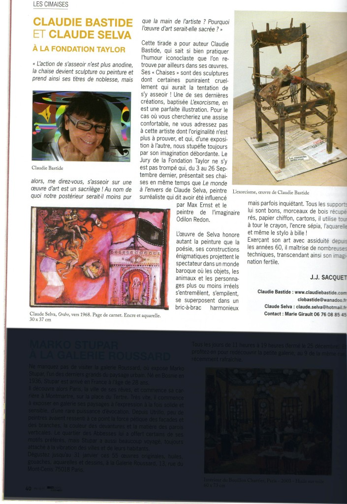 Article Paris-Montmartre trimestriel Déc 2009