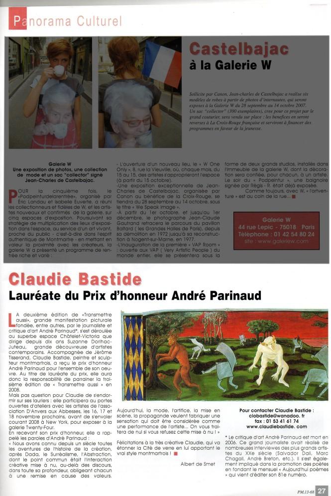 Article Paris-Montmartre Prix d'honneur A.Parinaud 2008