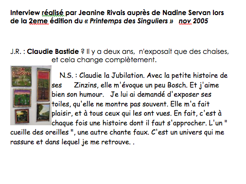 interview par Nadine Servan 2005