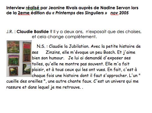 interview par Nadine Servan 2005