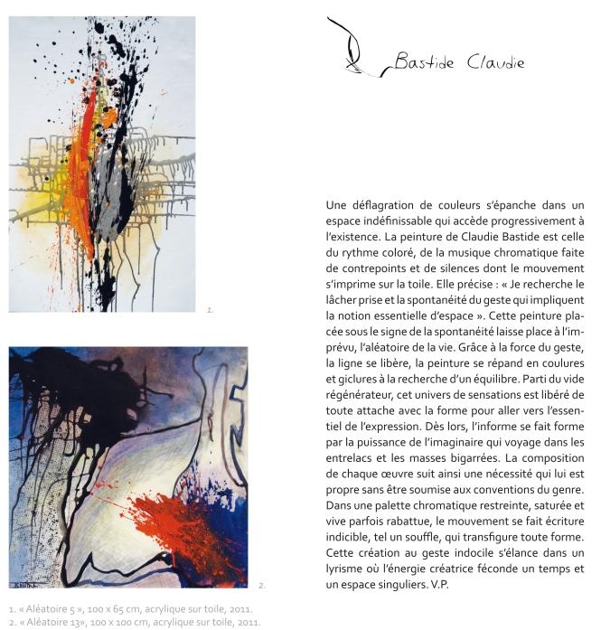 """Page Claudie Bastide du catalogue"""" Place aux artistes"""" 5 au 7 octobre 2013"""