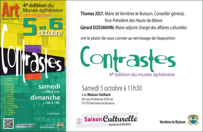 "Invitation vernissage exposition ""contrastes"""