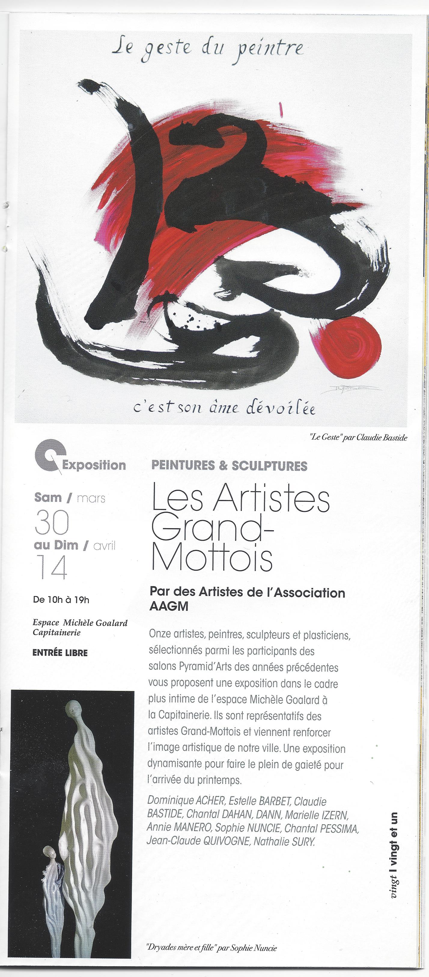 exposition des Artistes Grand-Mottois du 30 mars au 14 avril à l'Espace Goalard